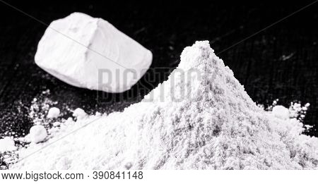 Kaolin On Isolated Black Background, Is An Inorganic Mineral, Chemically Inert, Used In Several Bran