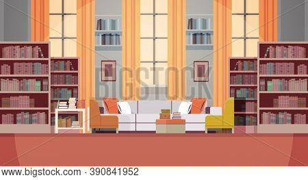 Modern Living Room Interior Empty No People Book Club With Furniture Horizontal Vector Illustration