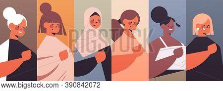 Set Mix Race Girls Avatars Womens Club Union Of Feminists Concept Portraits Collection Horizontal Ve