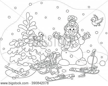 Cheerful Small Birds Flying Around A Smiling Cute Toy Snowman With A Warm Scarf And A Hat, Skis And