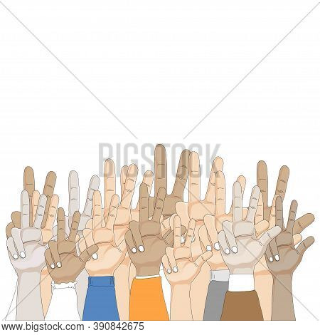 Group Of People Hands Showing Three Fingers On White Background, Vector Illustration Three Finger Ge