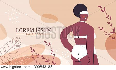 African American Plus Size Girl In Bikini Overweight Woman Standing Pose Love Your Body Concept Port