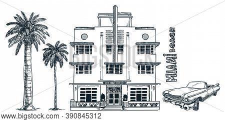 Miami Street With Vintage Building, Retro Car And Palms. Vector Sketch Illustration. Florida Design