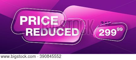 Price Reduced Banner - Creative Decorated Mesage On Bright Purple Background - Crossed Old Price And