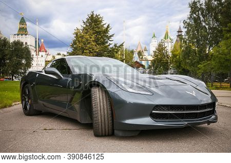 Moscow, Russia - August 14, 2020: Sportscar Chevrolet Corvette C7 Stingray In The City Street.