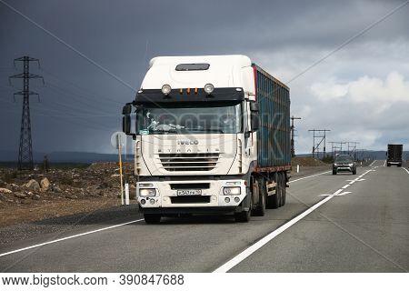 Murmansk Region, Russia - August 17, 2020: White Semitrailer Truck Iveco Stralis As500 At The Interu