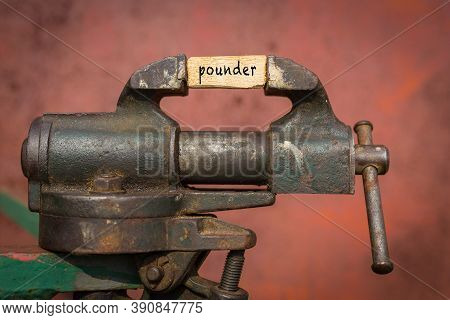 Concept Of Dealing With Problem. Vice Grip Tool Squeezing A Plank With The Word Pounder