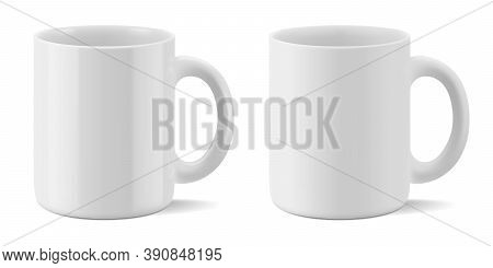 Vector Realistic Mockup Of Matte And Glossy Mug For Drinks Perspective View. White Blank Isolated Cu