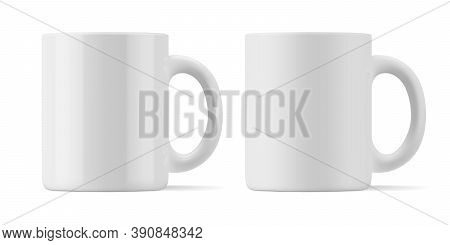 Vector Realistic Mockup Of Matte And Glossy Mug For Drinks Front View. White Blank Isolated Cup. Eps