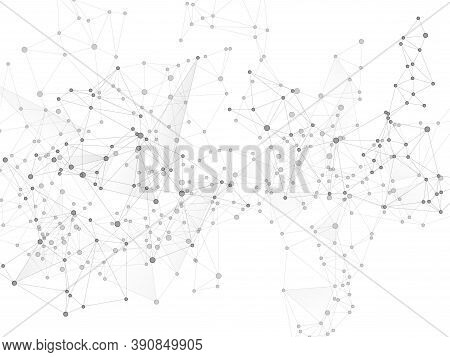 Geometric Plexus Structure Cybernetic Concept. Network Nodes Greyscale Plexus Background. Gene Manip