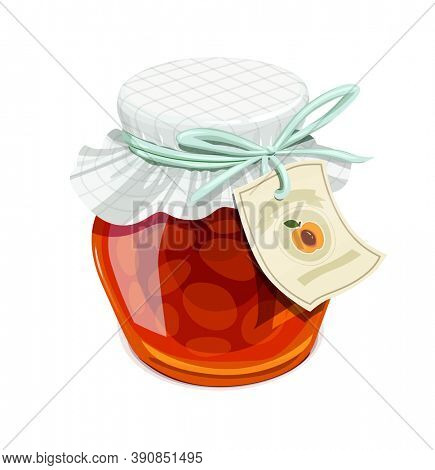Apricot jam jar. Vintage style. Delicious organic food. Glass capacity for fruit meal with lid, isolated white background. 3D illustration.