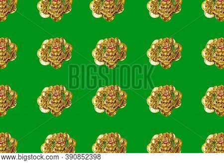 Pattern With A Figure Of A Money Toad Or Money Frog On A Green Background. Symbol Of Wealth, Feng Sh
