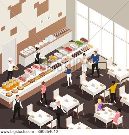 Corporate Events Celebrations Catering Service Hall Isometric View With White Table Linens Snacks Be
