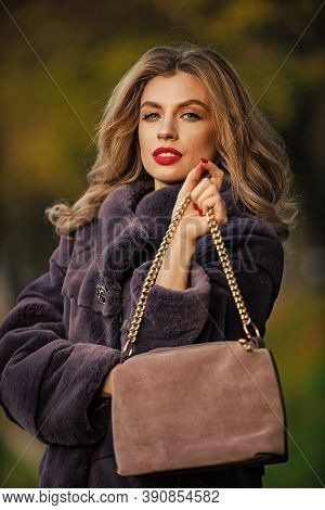 Soft Jacket Furry Texture. Glamorous Lady. Cosy Autumn Outfit. Winter Fashion Trends. Luxury Segment