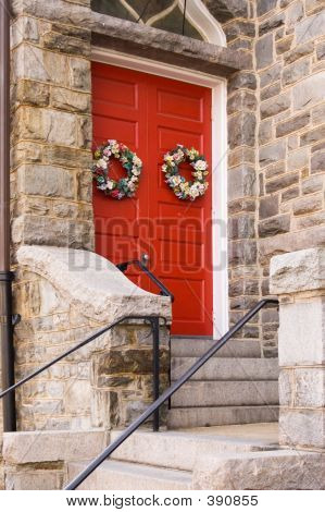 Red Church Door With Holiday Decoration