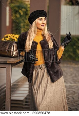 Chic And Trendy. Matching Different Textures Outfit. Fashion And Beauty. Autumn Outfit. Elegant Woma