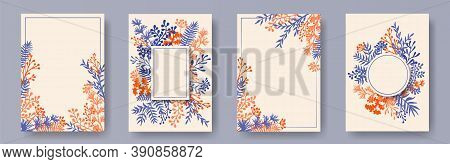Botanical Herb Twigs, Tree Branches, Leaves Floral Invitation Cards Templates. Herbal Frames Rustic