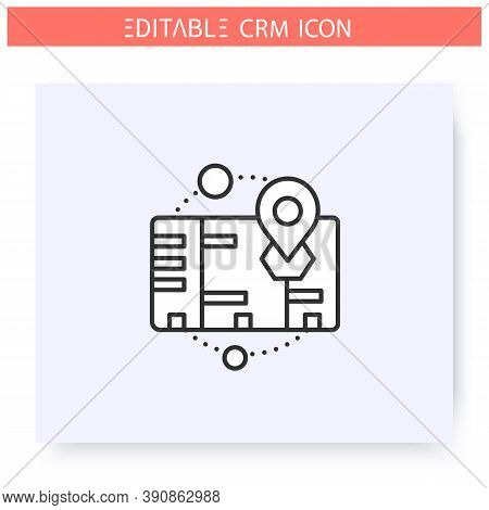 On Premises Crm Line Icon. Licenced System Version For Self Administration And Control. Automating W
