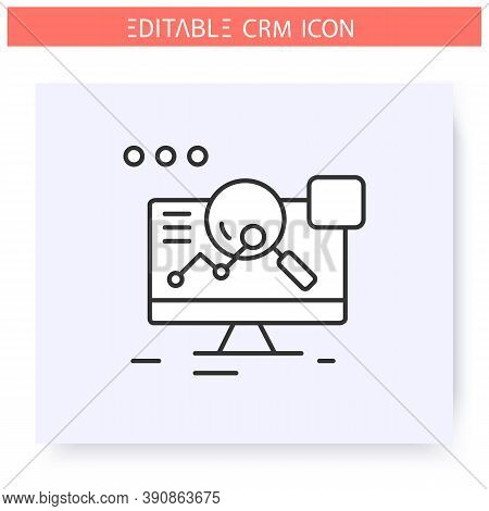 Analytical Crm Line Icon. Sales Effectivity Analyse And Marketing Strategies System. Automating Work