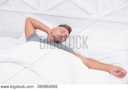 Tips Sleeping Better. Bearded Peaceful Man Sleeping Face Relaxing On Pillow Covered Blanket. Total R