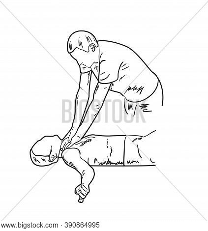 Man Commits Crime, Strangles A Woman. Sketch, Vector Illustration