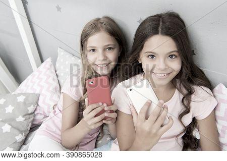 Explore Social Network. Kids Taking Selfie. Smartphone Application Concept. Online Entertainment. Gi
