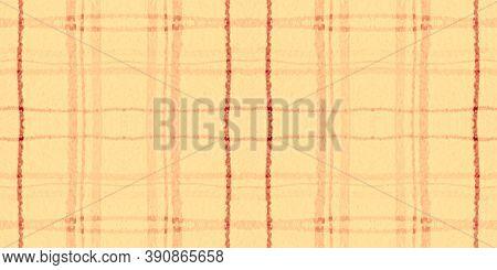 Yellow Tartan Pattern. Watercolor Plaid Flannel. Man Squares For Tweed Print. Seamless Orange Tartan