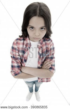 I Am Not Talking To You. Girl Serious Face Offended White Background. Kid Unhappy Looks Strictly. Gi