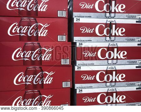 Indianapolis - Circa September 2020: Coca Cola And Diet Coke On Display. Coke Products Are Among The