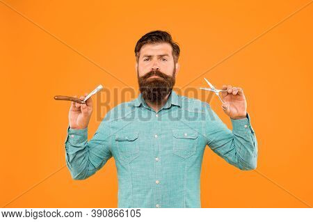 Beard And Mustache. Hipster With Long Beard And Mustache Hair Yellow Background. Bearded Man Holding