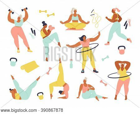 Women Different Sizes, Ages And Races Activities. Set Of Women Doing Sports, Yoga, Jogging, Jumping,