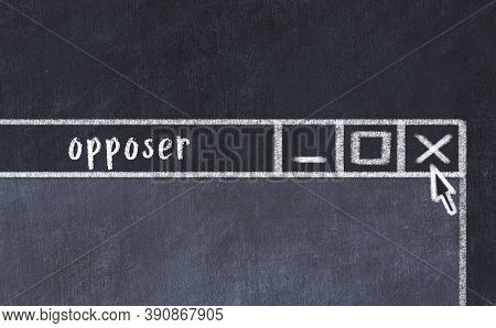 Closing Browser Window With Caption Opposer. Chalk Drawing. Concept Of Dealing With Trouble