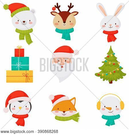 Christmas Icons With Cute Little Animals Santa Gift And Christmas Tree