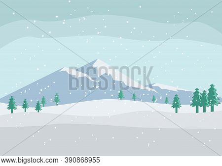 Beautiful Snow Scenery And Mountain Background