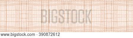 Beige Pastel Check. Seamless Picnic Fabric. Scotland Cloth. Rustic Textured Border. Geometric Pastel