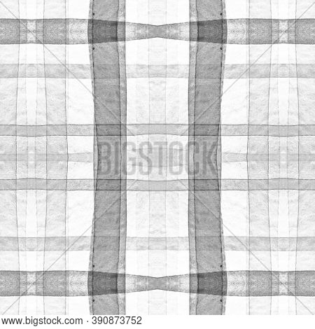 Picnic Shirt Prints. Watercolour Check Pattern. Color Traditional Squares For Tweed Print. Seamless