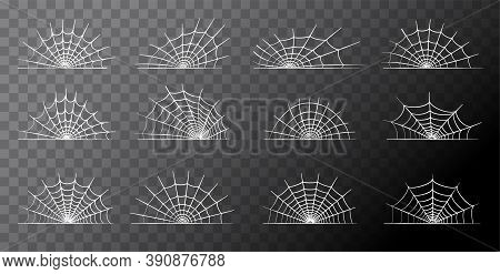 Spider Web Icons Set. Halloween Decoration With Cobweb. Spiderweb Flat Vector Illustration. Isolated