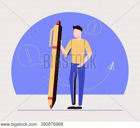 Man Holding Pencil With Glowing Lightbulb. Concept Of Creativity, Creative Thinking, Innovative Idea