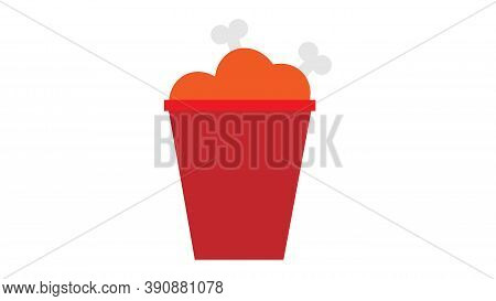 Chicken Legs In A Red Bucket On A White Background, Vector Illustration. Delicious Baked, Breaded Me