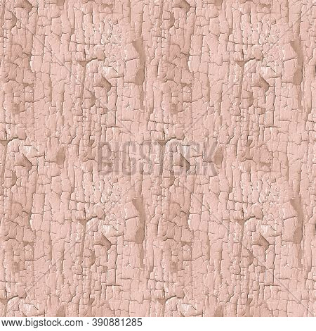 Cracked Paint Texture. Beige Worn Crack Surface. Abstract Dirty Fence. Distress Tree Background. Bro