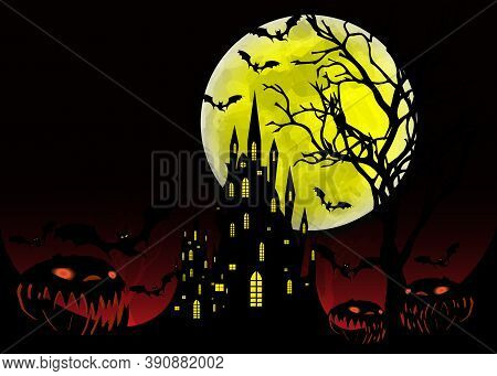 Halloween Party, Mystic Vector Illustration, Dark Background On A Spooky Full Moon With Silhouettes