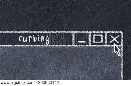 Closing Browser Window With Caption Curbing. Chalk Drawing. Concept Of Dealing With Trouble