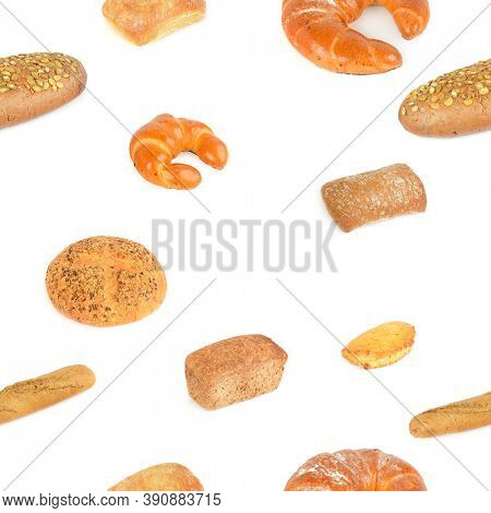 Seamless pattern varied set bread products isolated on white background.