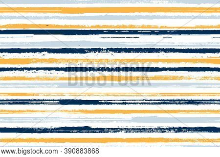Watercolor Freehand Parallel Lines Vector Seamless Pattern. Funky Linen Fabric Print Design. Retro T