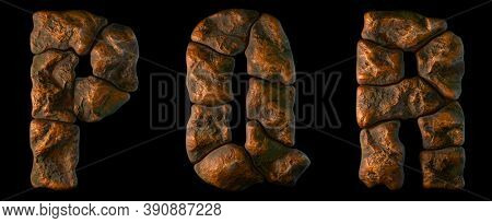 Set of rocky letters P, Q, R. Font of stone on black background. 3d rendering