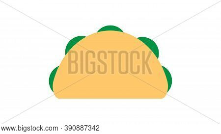Tacos On White Background, Vector Illustration. Traditional Mexican Cuisine. Delicious Appetizing Lu