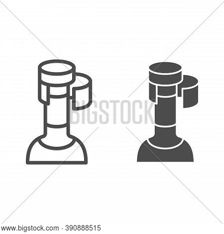 Wine Cork In Bottle Line And Solid Icon, Wine Festival Concept, Bottle With Cork Stopper Sign On Whi