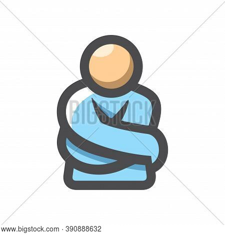 Crazy Mad Man. Guy In A Straight Jacket. Vector Icon Cartoon Illustration