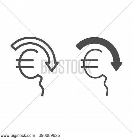 Euro Rate Fall Line And Solid Icon, Economic Sanctions Concept, Euro Depreciation Sign On White Back