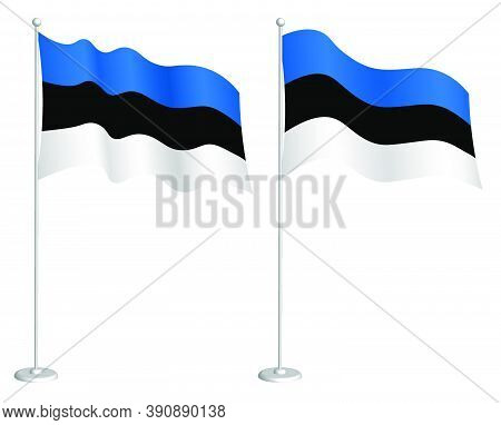 Estonian Flag On Flagpole Waving In The Wind. Holiday Design Element. Checkpoint For Map Symbols. Is